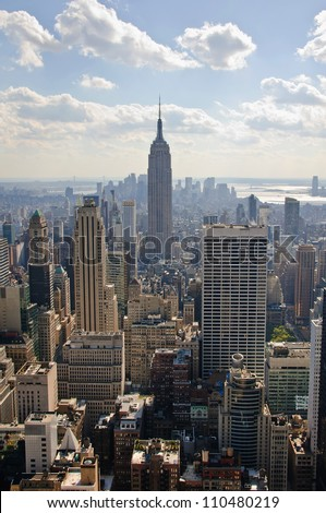 NEW YORK CITY - OCTOBER 7: The Empire State Building on October 7, 2010 in New York, USA. The Empire State Building is a 102-story landmark and American cultural icon in New York City. - stock photo