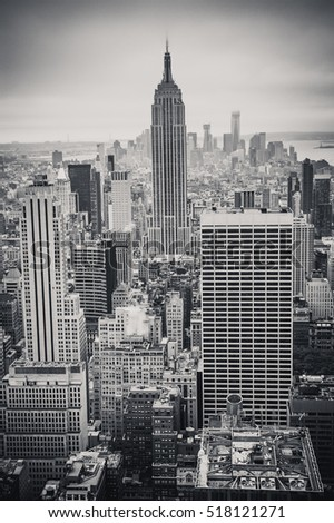 NEW YORK CITY - October 10, 2012: The Empire State Building viewed from the observation deck of the Rockefeller Center