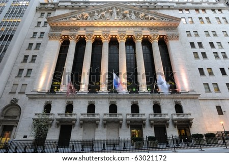 NEW YORK CITY - OCTOBER 13: The historic New York Stock Exchange is the largest stock exchange in the world October 13, 2010 in New York, New York. - stock photo