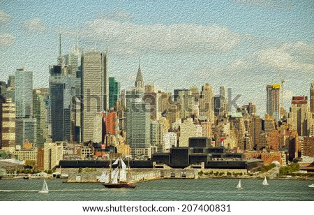 new york city old large sailing ship in hudson oil painting - stock photo