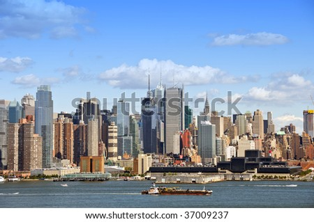 new york city over hudson with boat - stock photo