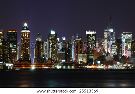 New York City over the Hudson river cityscape