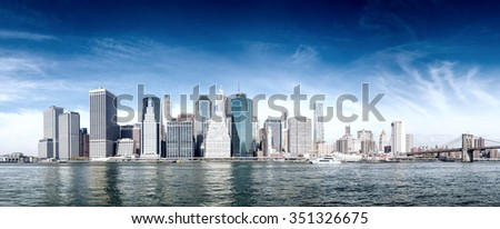 New York City panorama. East river and downtown.