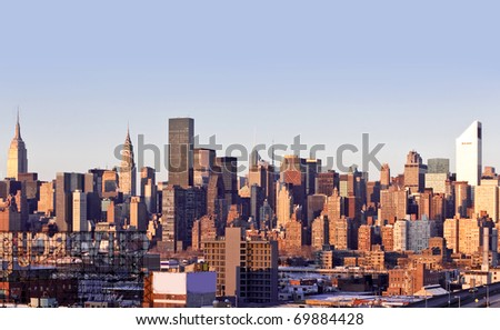 New-York city panorama taken from Queens on sunset