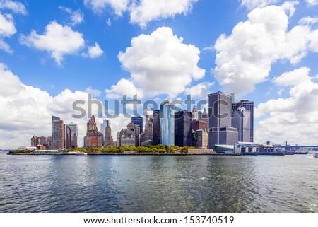New York City panorama with Manhattan Skyline over Hudson River - stock photo