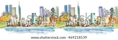 New York City panorama with Manhattan Skyline over Hudson River. Seamless watercolor line.