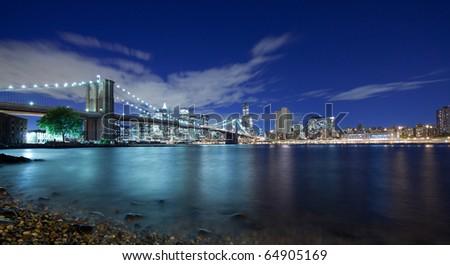 New York City panoramic at night - stock photo
