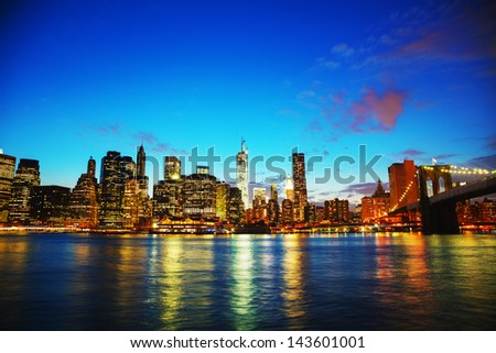 New York City panoramic cityscape in the evening at sunset