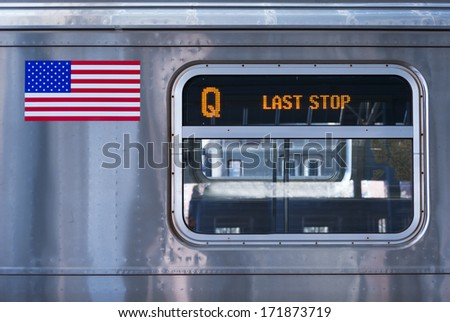 New York City Q train detail, last stop - stock photo