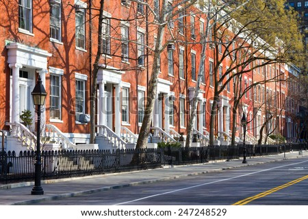 New York City - row of buildings near Washington Square Park in Manhattan - stock photo
