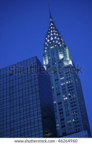 New York City's Chrysler Building lit up at night - stock photo