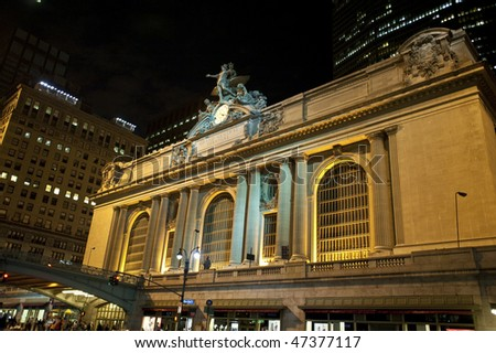 New York City's Grand Central Terminal at night. - stock photo