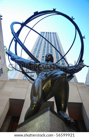 NEW YORK CITY - SEP 5: Fifth Avenue, as a symbol of wealthy New York and one of the most expensive streets in the world, with Atlas statue, September 5, 2009 in Manhattan, New York City. - stock photo