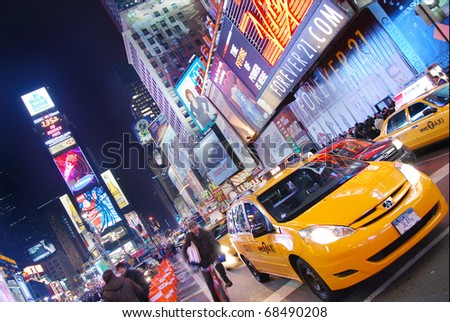 NEW YORK CITY - SEP 5: Times Square, featured with Broadway Theaters and  animated LED signs, is a symbol of New York City and the United States,  September 5, 2009 in Manhattan, New York City. - stock photo