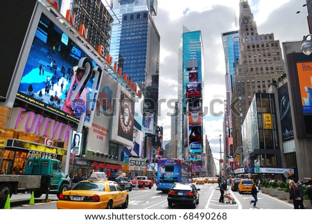 NEW YORK CITY - SEP 5: Times Square, featured with Broadway Theaters and LED signs, is a symbol of New York City and the United States, September 5, 2010 in Manhattan, New York City. - stock photo