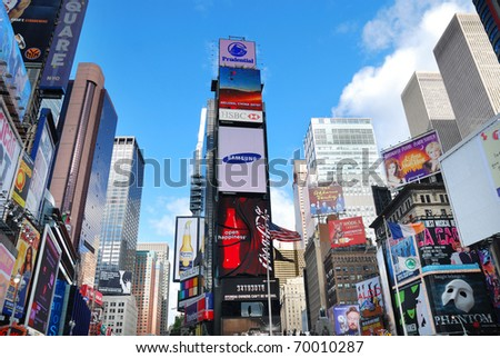NEW YORK CITY - SEP 5: Times Square is featured with Broadway Theaters and LED signs as a symbol of New York City and the United States, September 5, 2009 in Manhattan, New York City. - stock photo