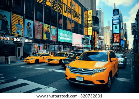 NEW YORK CITY - SEP 5: Times Square street view on September 5, 2014 in Manhattan, New York City. Featured with Broadway Theaters and LED signs, it is a symbol of New York City and the United States,