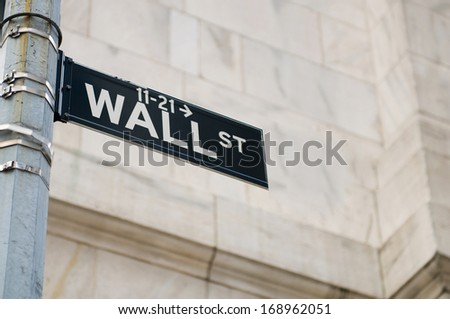 New York city - 4 Sep 2010 - Wall street and stock exchange - stock photo