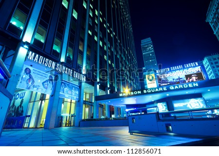 NEW YORK CITY - SEPT 13:  Entrance to Madison Square Garden in New York City on  Sept. 13, 2012. This landmark multi-purpose indoor arena, located above Penn Station.  It opened  February 1968. - stock photo