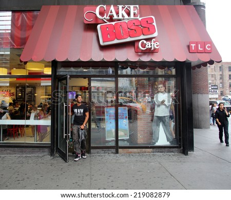 NEW YORK CITY - SEPT. 11, 2014: the Cake Boss Cafe in New York City on September 11, 2014. Cake Boss Cafe is the Manhattan outlet of Carlo's Bakery, home of the Cake Boss, Buddy Valastro - stock photo