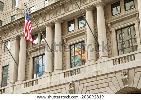 NEW YORK CITY - SEPT 20:  The former Cunard Building is a 22-story high-rise located at 25 Broadway in Lower Manhattan. It was built from 1917 to 1921. September 20, 2012  in Manhattan, NYC.  - stock photo