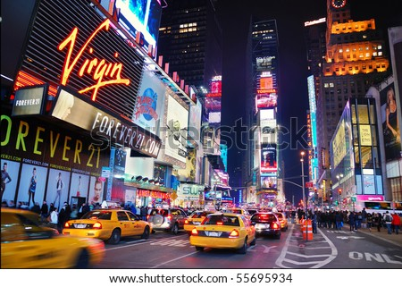 NEW YORK CITY - SEPT 5: Times Square, featured with Broadway Theaters and animated LED signs, is a symbol of New York City and the United States,  September 5, 2009 in Manhattan, New York City. - stock photo