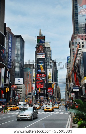NEW YORK CITY - SEPT 5: Times Square, featured with Broadway Theaters and huge number of LED signs, is a symbol of New York City and the United States,  September 5, 2009 in Manhattan, New York City. - stock photo