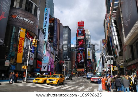 NEW YORK CITY - SEPT 5: Times Square, featured with Broadway Theaters and LED signs, is a symbol of New York City and the United States, September 5, 2009 in Manhattan, New York City. - stock photo