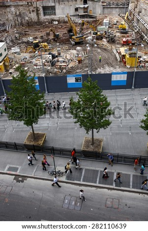 New York City - September 24, 2011: A flag waves at the World Trade Center construction site