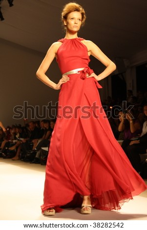 NEW YORK CITY - SEPTEMBER 12: A model presents latest clothing at Mercedes Benz S/S fashion week September 12, 2009 in New York City. - stock photo