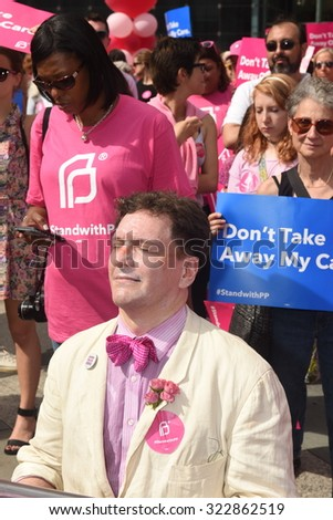 NEW YORK CITY - SEPTEMBER 29 2015: Activists and directors of Planned Parenthood, NYC, gathered in Foley Square with NYC first lady Chirlane McCray.