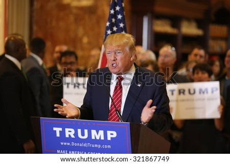 NEW YORK CITY - SEPTEMBER 28 2015: Businessman and presidential candidate Donald Trump held a press conference at Trump Tower to unveil his comprehensive tax reform plan. - stock photo