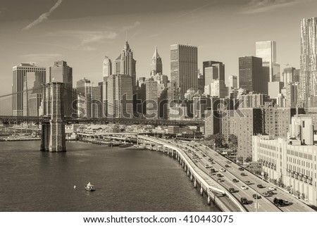 NEW YORK CITY - SEPTEMBER 21, 2015: City skyline and skyscrapers. New York attracts 50 million visitors annually. - stock photo