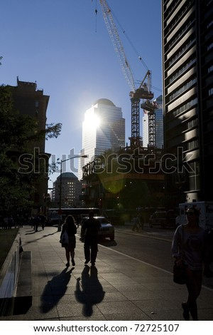 NEW YORK CITY - SEPTEMBER 14: Construction at the site of the September 11,2001 bombing of the World Trade Center on September 14, 2010 in New York City. - stock photo