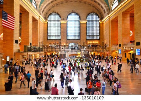 NEW YORK CITY - SEPTEMBER 14: Grand Central Station on September 14, 2012 in New York, New York. Grand Central Terminal is the world's largest train station by number of platforms. - stock photo
