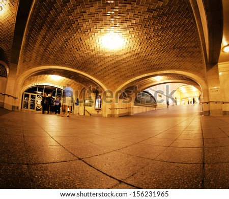 NEW YORK CITY - SEPTEMBER 22: Grand Central Station Whispering Arch on September 22, 2013 in NYC. It is 4 archways where whispers can sound like shouting when people stand at opposite ends. - stock photo
