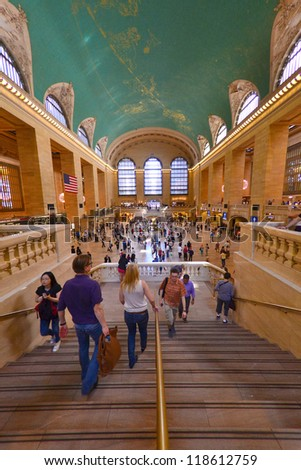 NEW YORK CITY - SEPTEMBER 14: Grand Central Terminal, pictured on September 14, 2012 was closed for several days due to Hurricane Sandy that hit Manhattan on October 29, 2012. - stock photo