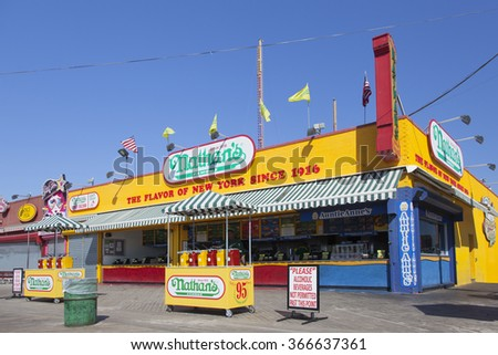 New York City, 15 September 2015: Nathan's famous restaurant in bright colors on Coney island