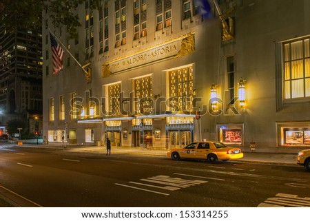 NEW YORK CITY - SEPTEMBER 2nd: The Waldorf Astoria hotel on Park Avenue is considered one of the first grand hotels and a landmark in New York City on September  2, 2013 in Manhattan, New York City.  - stock photo