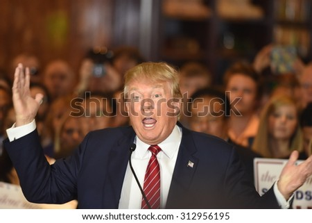 NEW YORK CITY - SEPTEMBER 3 2015: Republican presidentialt Donald Trump announced he had signed a pledge not to run as an independent candidate should he fail to win the party's 2016 nomination. - stock photo