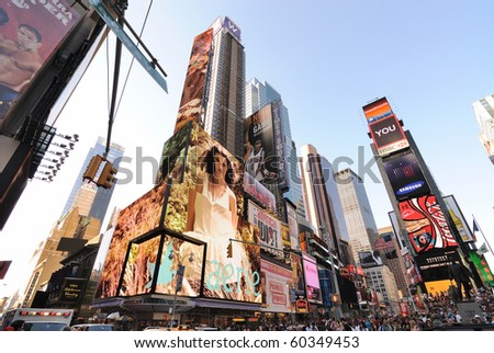 NEW YORK CITY - SEPTEMBER 4: Skyscrapers with modern video billboards in Times Square September 4, 2010 in New York City. - stock photo