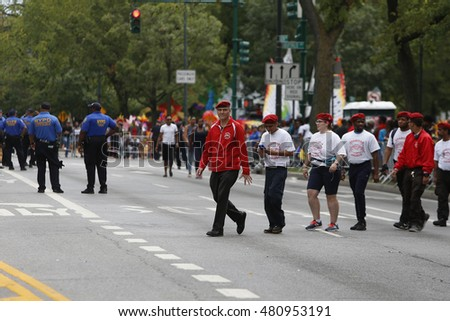 NEW YORK CITY - SEPTEMBER 5 2016: the annual East Indian Day Parade along Eastern Parkway is one of the largest public events in North America. Guardian Angels founder Curtis Sliwa