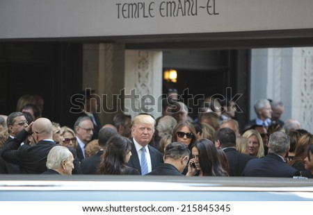 NEW YORK CITY - SEPTEMBER 7 2014: the funeral of comedienne Joan Rivers took place at Temple Emanu-El on Manhattan Upper East Side with many celebrities in film, TV & fashion attending. - stock photo