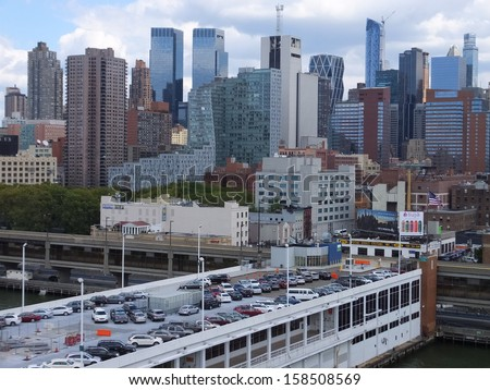 NEW YORK CITY - SEPTEMBER 8: View of Henry Hudson Highway (West Side) in Manhattan, as seen on September 8, 2013. New York is the largest city by population in the US. - stock photo