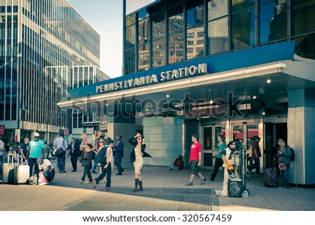 NEW YORK CITY - SEPTEMBER 24, 2015:  View outside Pennsylvania Station in New York City - stock photo