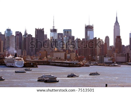 New York City skyline as seen from New Jersey - Isolated.