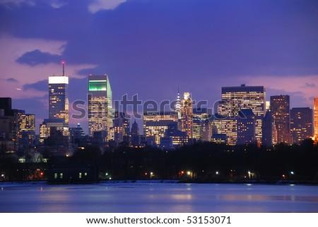 New York City Skyline at Dusk in Central Park - stock photo