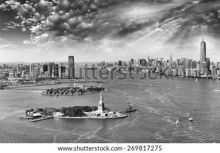 New York City skyline at dusk, USA. - stock photo