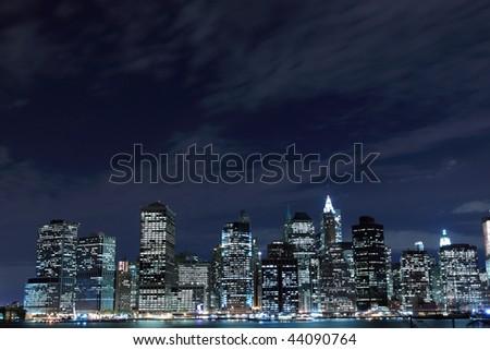 New York City Skyline at Night light, Lower Manhattan - stock photo