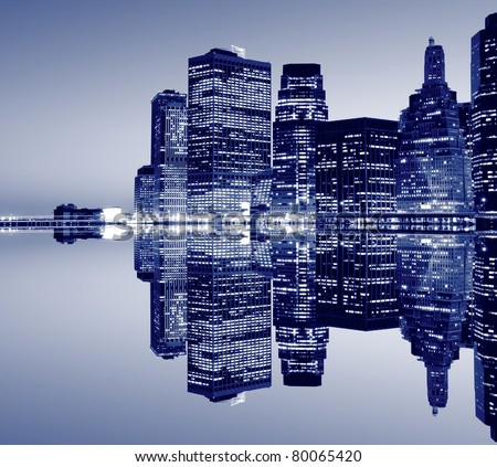 New York City skyline at Night Lights, Lowre Manhattan - stock photo